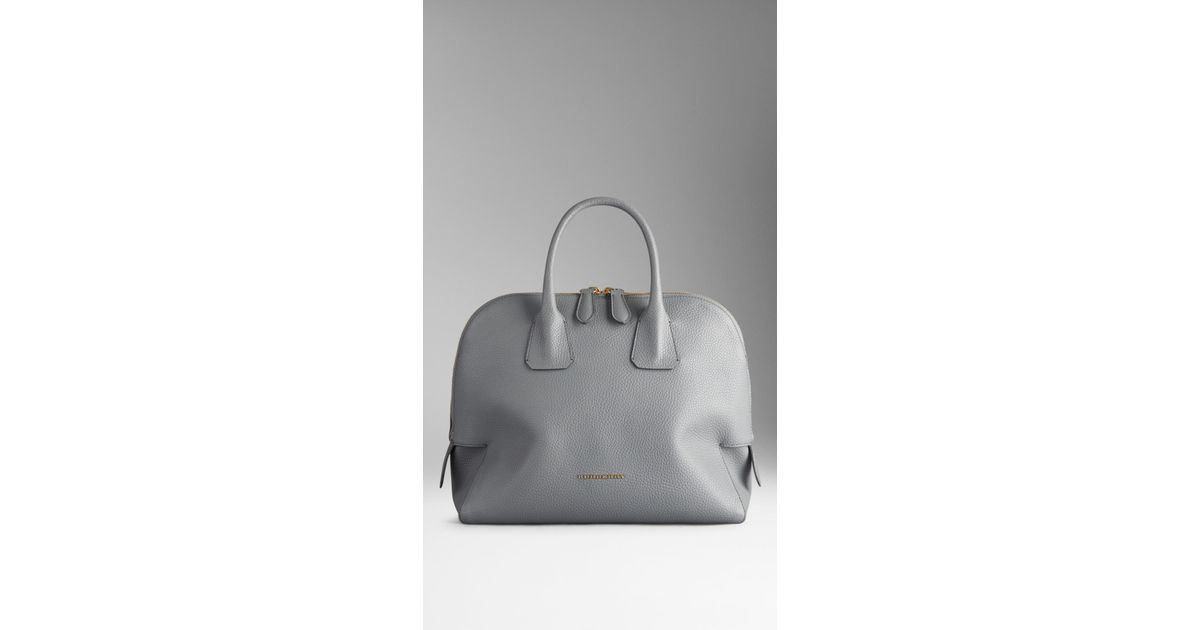 4d9e0c0f7e30 Lyst - Burberry Medium Grainy Leather Bowling Bag in Gray
