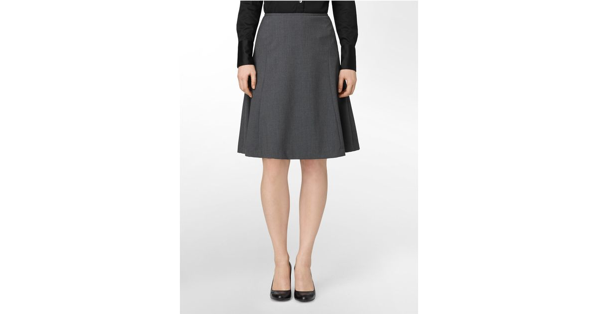Calvin klein Charcoal A-line Suit Skirt in Gray | Lyst