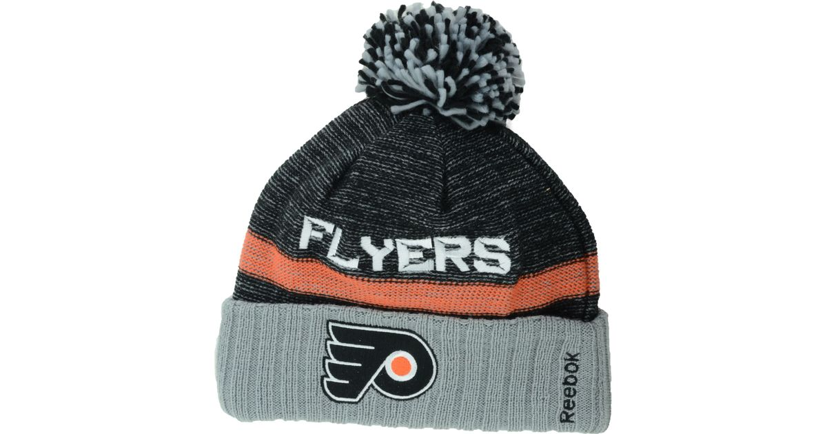 343c446a283 Lyst - Reebok Philadelphia Flyers Pom Knit Hat in Black for Men