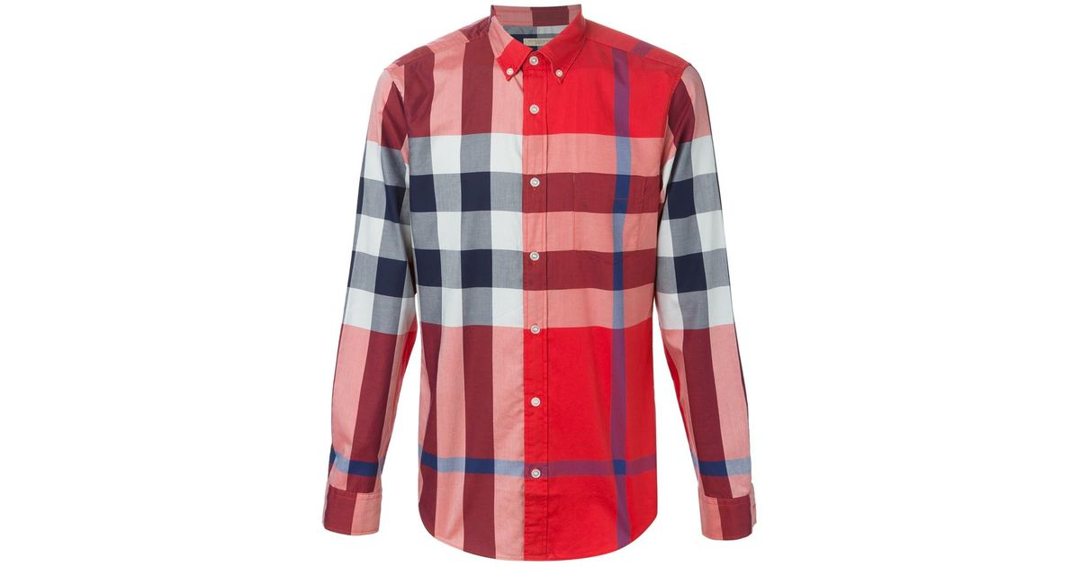 6a9b4f80c5e1 Lyst - Burberry Brit Oversized Check Shirt in Gray for Men