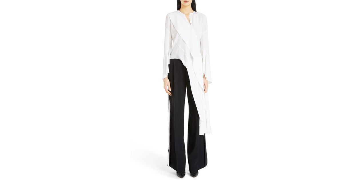 44bcbf82bc6acf Lyst - Givenchy Asymmetrical Silk Blouse in White