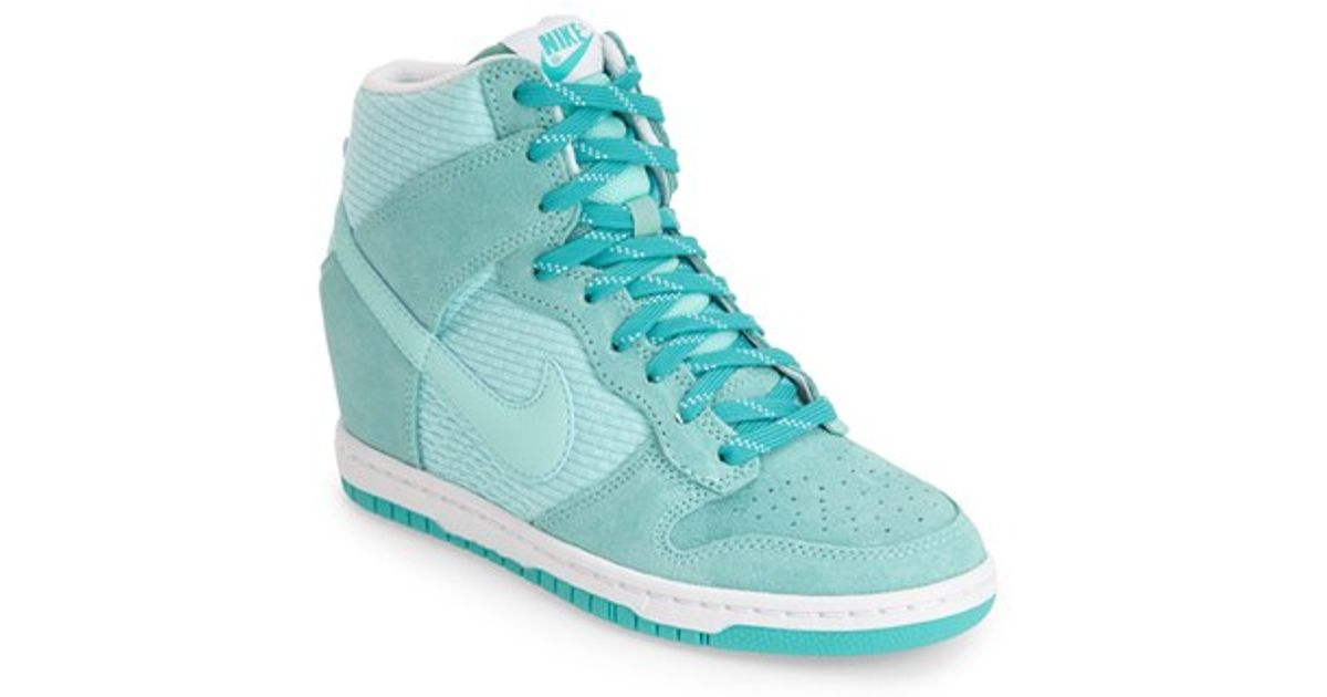 the best attitude 811b1 ca8c8 ... free shipping lyst nike dunk sky hi essential wedge sneaker in blue  d4ff1 2556f