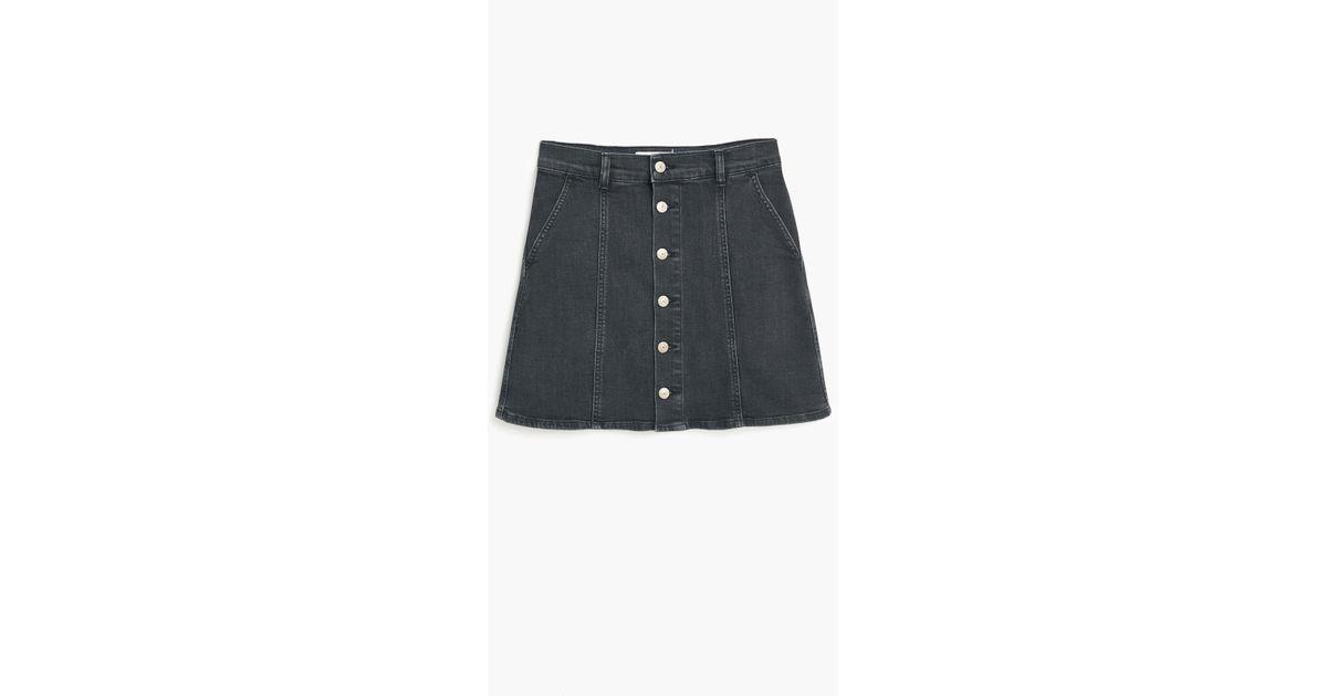 609058eb9 Mango Buttoned Denim Skirt in Black - Lyst