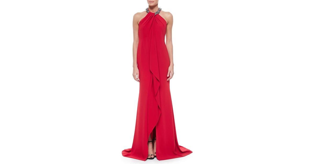 Lyst - Carmen Marc Valvo Beaded-neck Toga Gown in Red