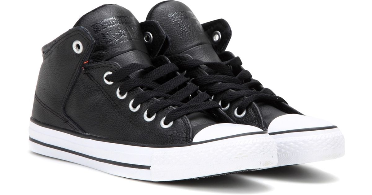 818f010954632d Lyst - Converse Chuck Taylor All Star High Street Leather Sneakers in Black