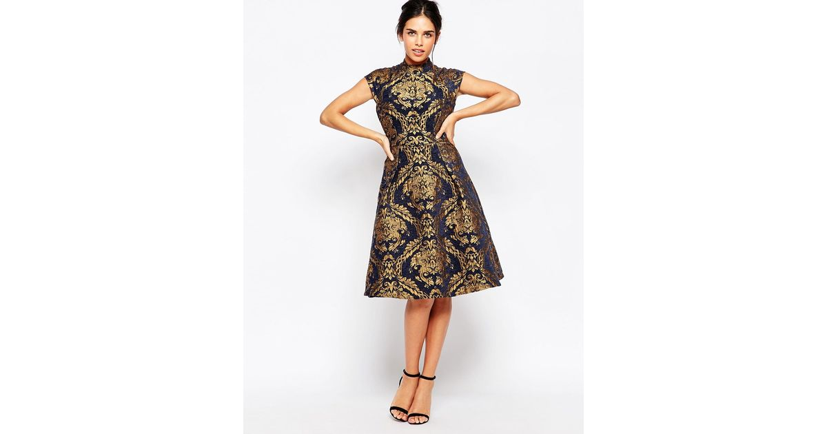 03a0a733ca Chi Chi London High Neck Structured Skater Dress In Baroque Print in Blue -  Lyst