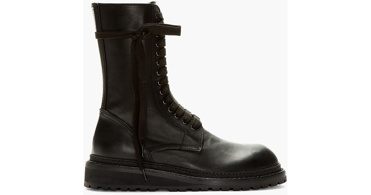 ANN DEMEULEMEESTER Lace up leather boots e6owdjyzJ