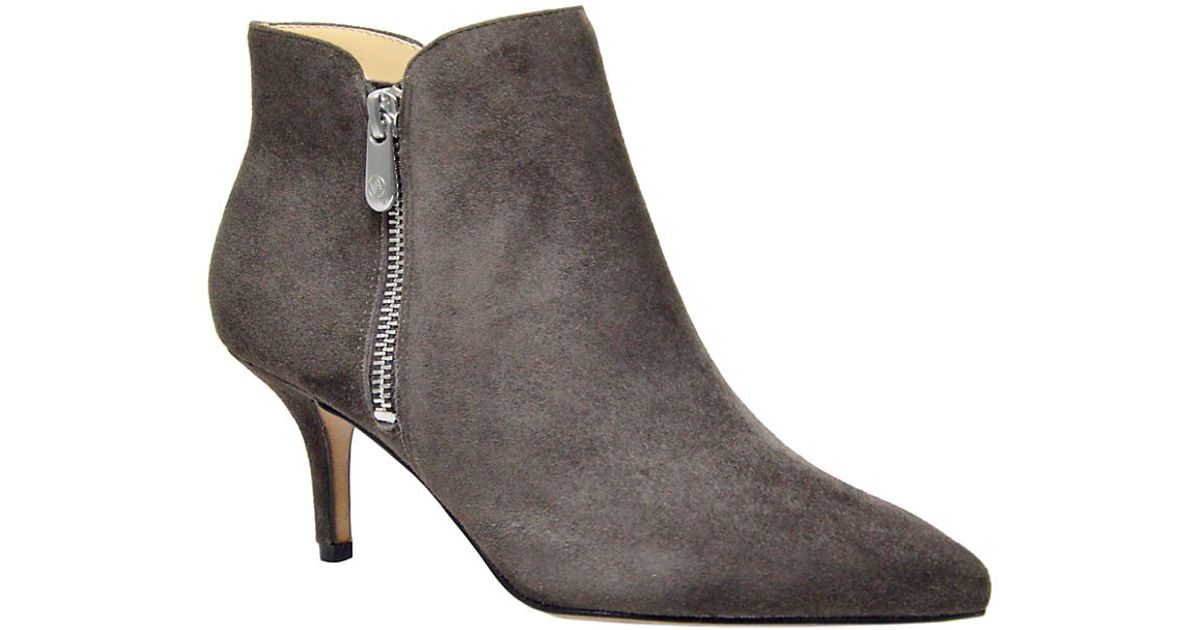 7b631b276a8 Lyst - Adrienne Vittadini Senji Suede Ankle Booties in Gray