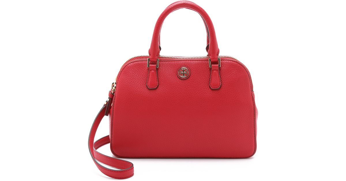 3331927005f9 Lyst - Tory Burch Robinson Double Zip Satchel - Kir Royale in Red
