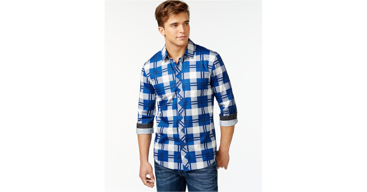 Guess Long Sleeve Grant Coated Cotton Shirt In Blue For
