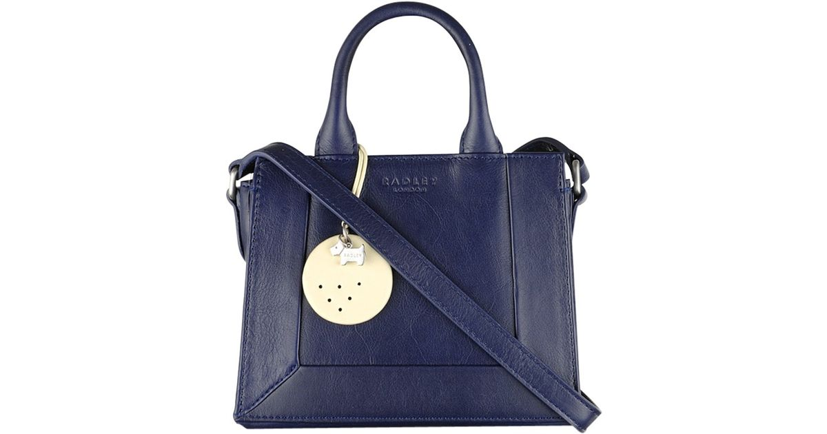 c91c63e94667 Radley Border Mini Leather Multi-way Grab Bag in Blue - Lyst