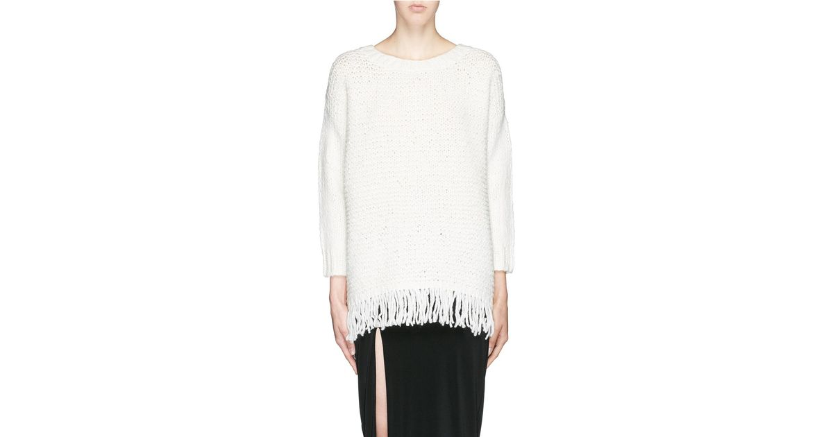 7977bf061a09 Lyst - Elizabeth and James Fringe Wool Blend Chunky Knit Sweater in White