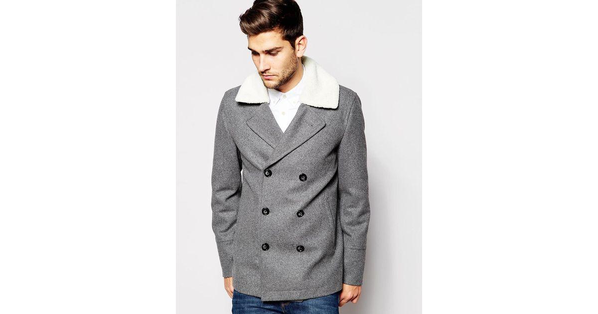 Light Grey Pea Coat Mens Tradingbasis