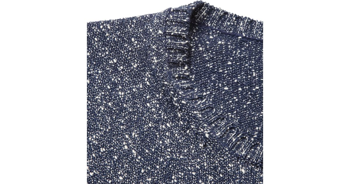 Ps By Paul Smith Flecked Knitted Cotton Boucle Sweater In Blue For