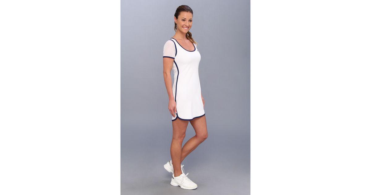 8d28cc5608694 Lyst - Lacoste Mesh Short Sleeve Tennis Dress in White