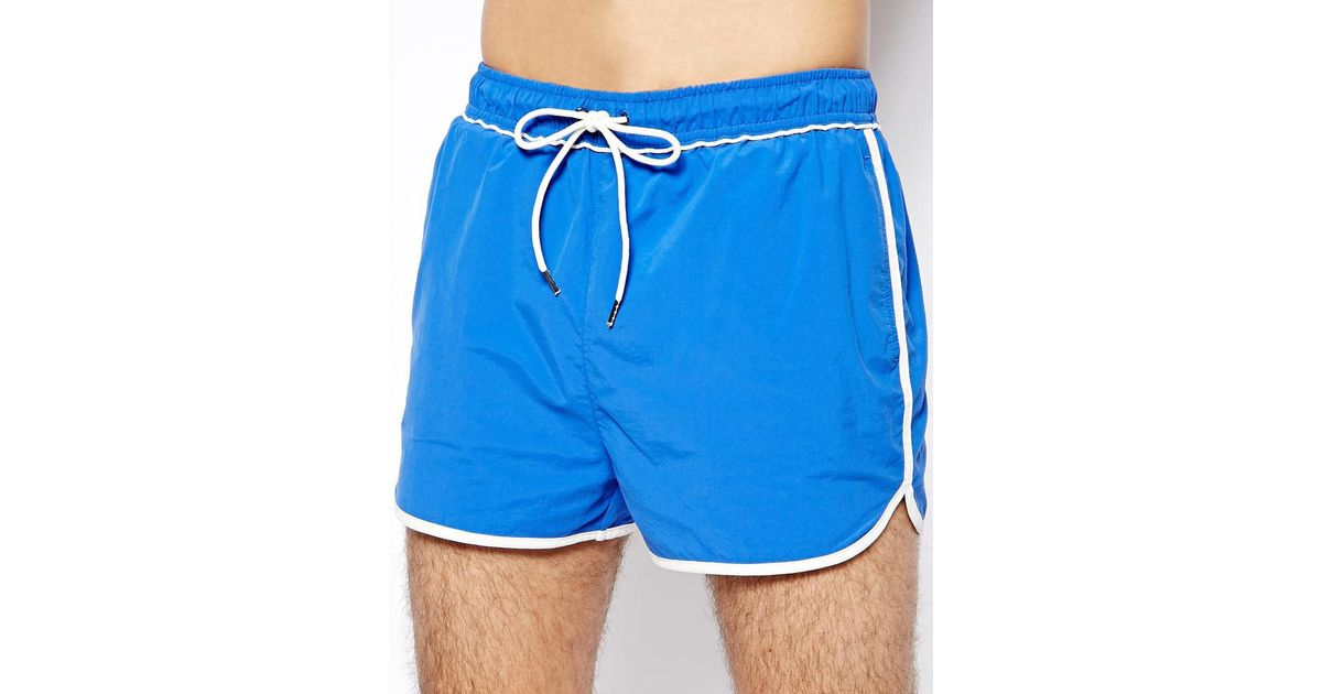 72cf4cecd6 SELECTED Old School Blue Shortie Swim Shorts in Blue for Men - Lyst
