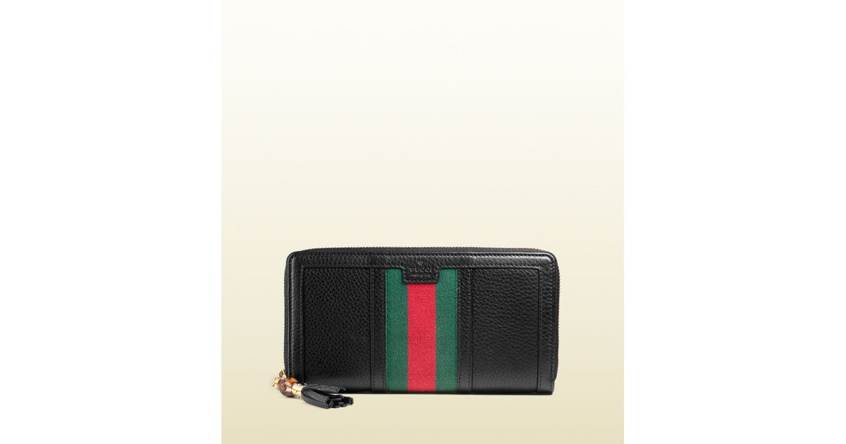 a016020bb3b31f Gucci Rania Leather Zip Around Wallet in Black for Men - Lyst