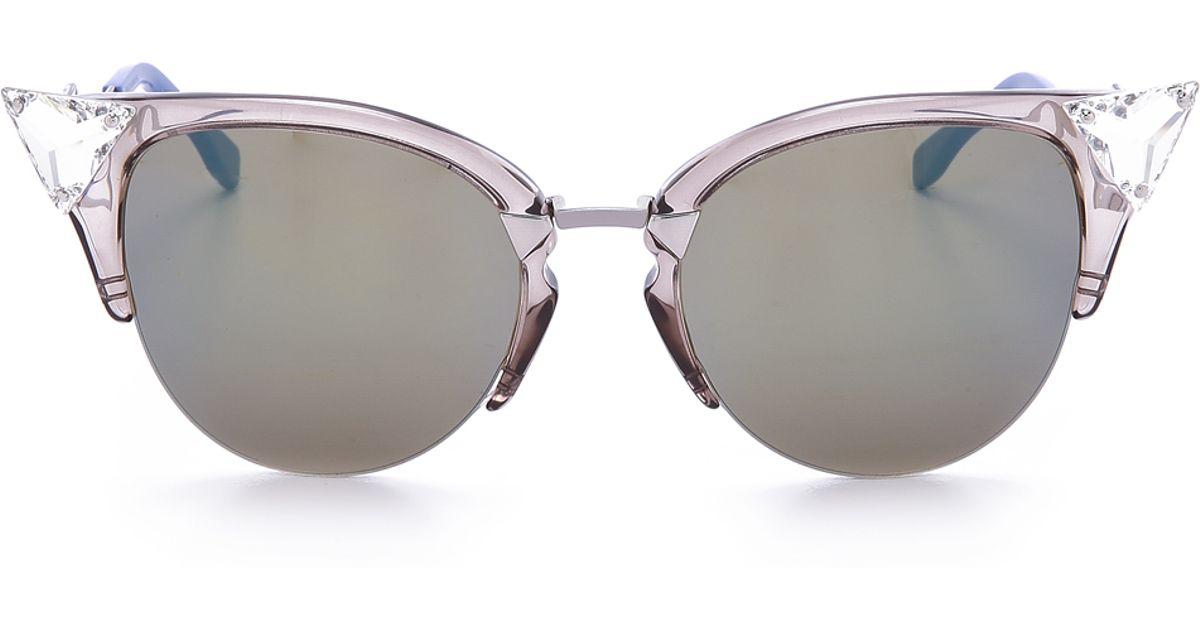 dc5185f57d7 Lyst - Fendi Iridia Crystal Corner Sunglasses in Gray