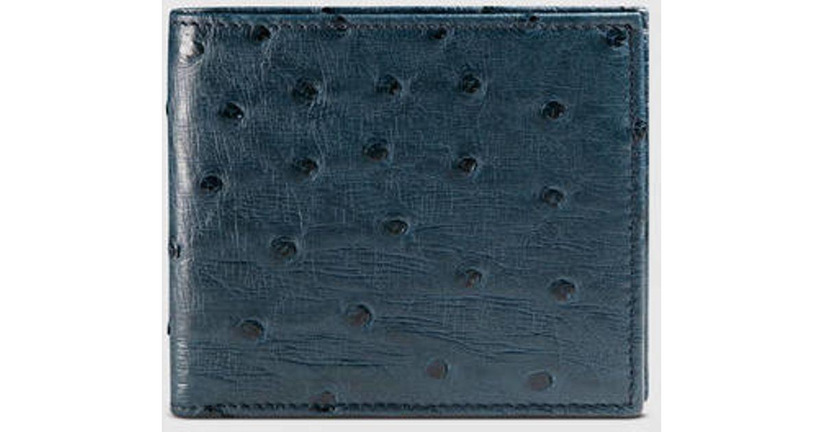 cc6024f5bba Lyst - Gucci Ostrich Bi-fold Wallet in Blue for Men