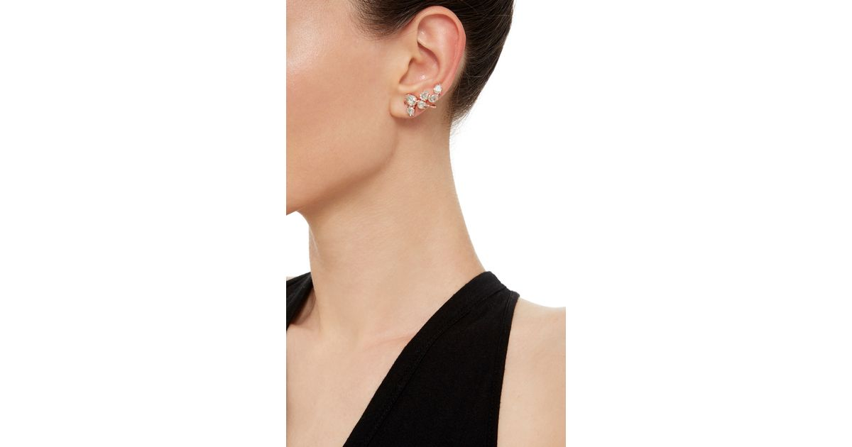 9c980d616 Ryan Storer Rose Gold Plated Swarovski Crystal Ear Cuff With Two Piece Stud  Set in Pink - Lyst