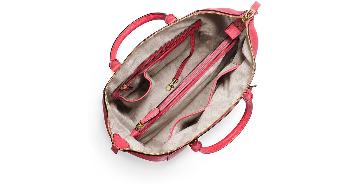 a75eb4b28c53 MICHAEL Michael Kors Riley Large Pebbled Leather Satchel Bag in Pink - Lyst