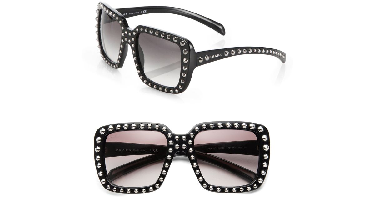 98258dfe71a8 Prada 56Mm Studded Square-Frame Sunglasses in Black - Lyst