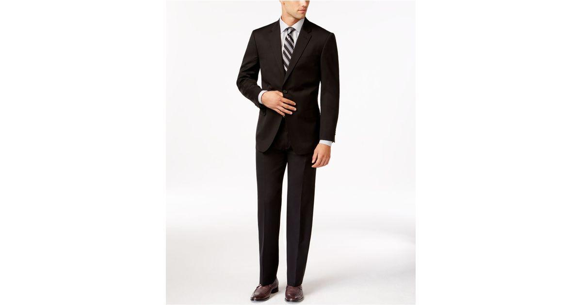 tommy hilfiger slim fit solid black suit in black for men. Black Bedroom Furniture Sets. Home Design Ideas