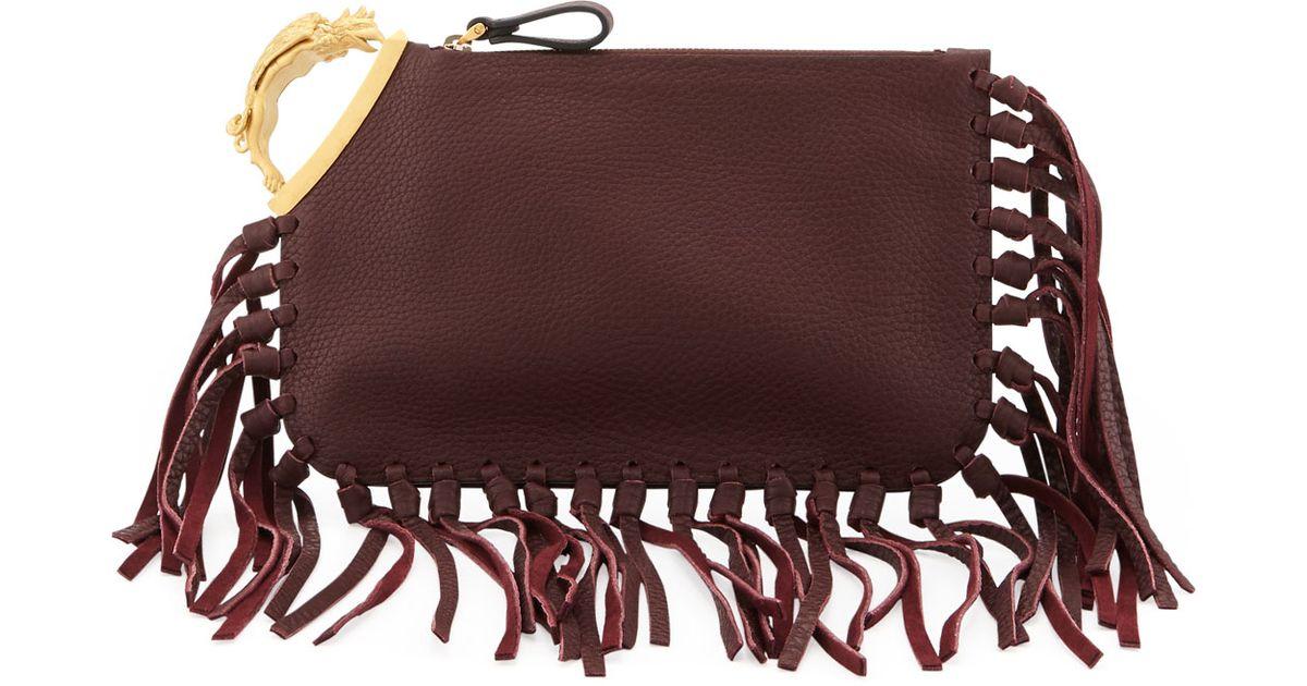 2ba9eaf699 Valentino Gryphon Finger-fringe Clutch Bag in Red - Lyst