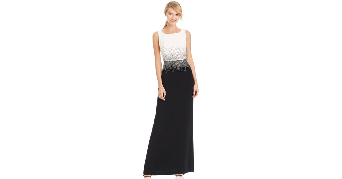 Calvin Klein Studded Colorblocked Evening Dress In Black