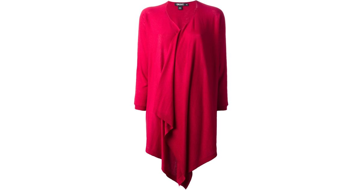 Dkny Waterfall Cardigan in Red | Lyst
