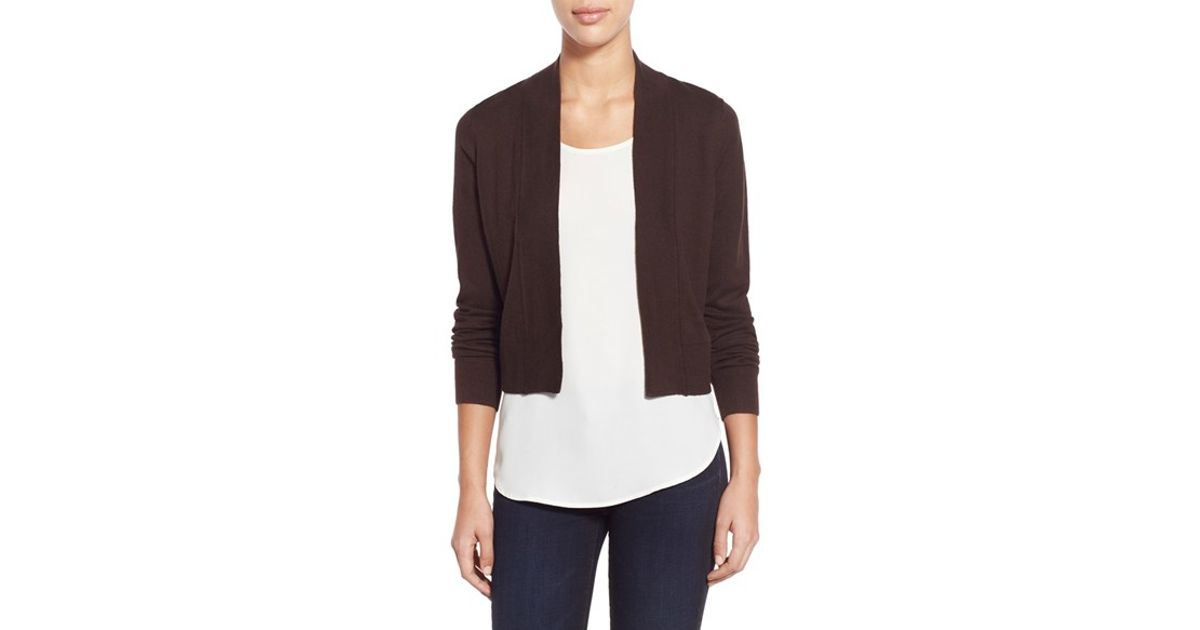 Michael michael kors Crop Open Front Cardigan in Brown | Lyst