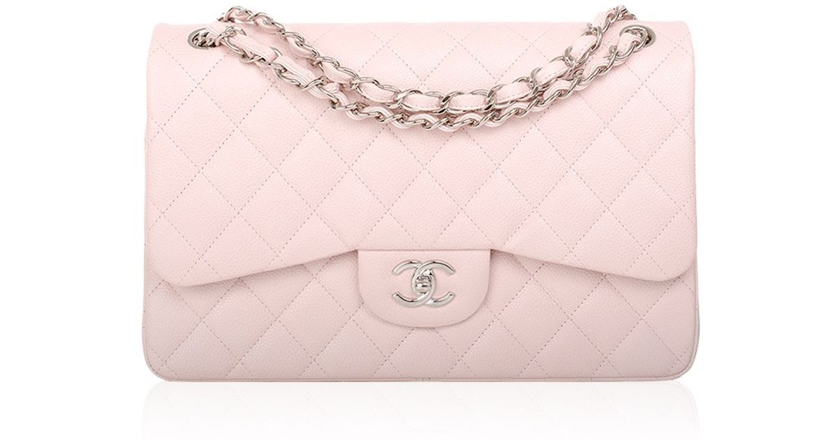 Lyst Madison Avenue Couture Chanel Baby Pink Quilted Caviar Jumbo Classic Bag In
