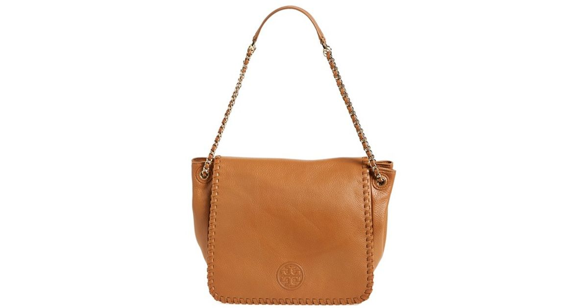 3f229fbb25e Lyst - Tory Burch  marion  Flap Shoulder Bag in Brown
