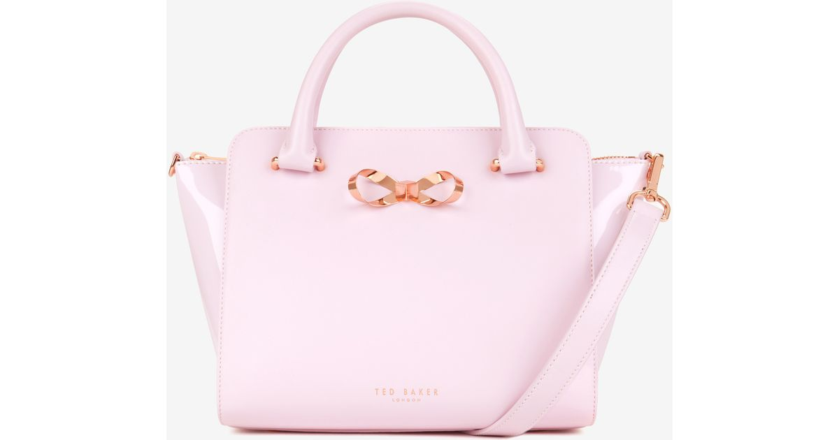 8cd43af2a15694 Ted Baker Loop Bow Leather Tote Bag in Pink - Lyst