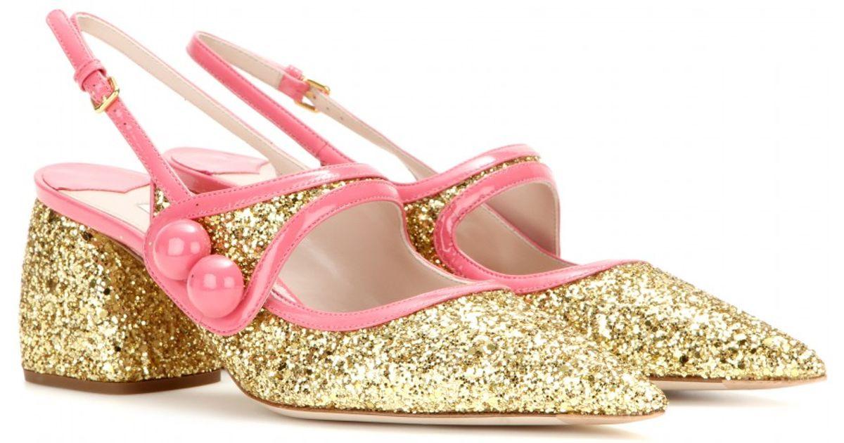 Lyst Glitter Embellished Miu Sandals Metallic 5A4Rj3L