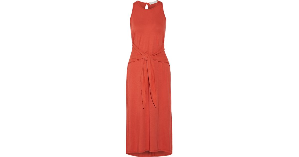 56efa3e14f46 Lyst - Kain Claudia Gauze-trimmed Cotton And Modal-blend Midi Dress in Red