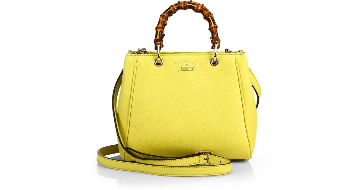 Gucci Yellow Bamboo Per Mini Leather Top Handle Bag