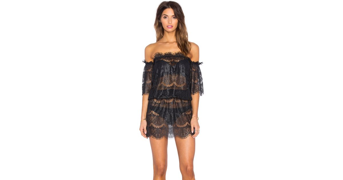 88d9e15f7a Lyst - Queen   Pawn Formentera Lace Off The Shoulder Dress in Black