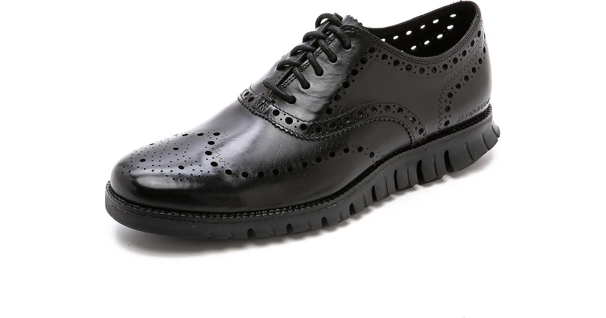 Cole Haan Black Wingtip Shoes