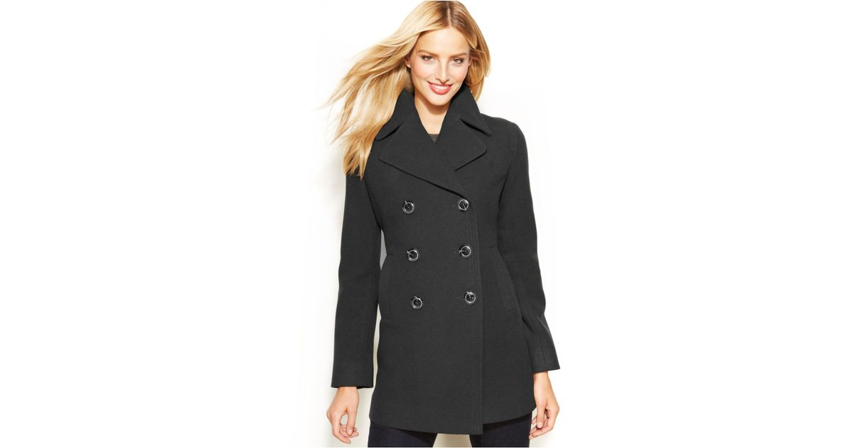 b47af6c6246 Kenneth Cole Reaction Double-Breasted Wool-Blend Pea Coat in Gray - Lyst