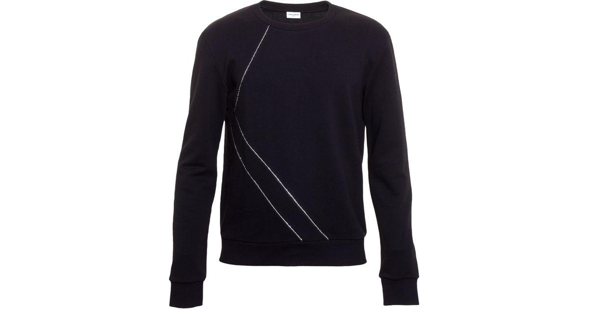 c7c415e0f5a Lyst - Saint Laurent Crystal Sweatshirt in Black