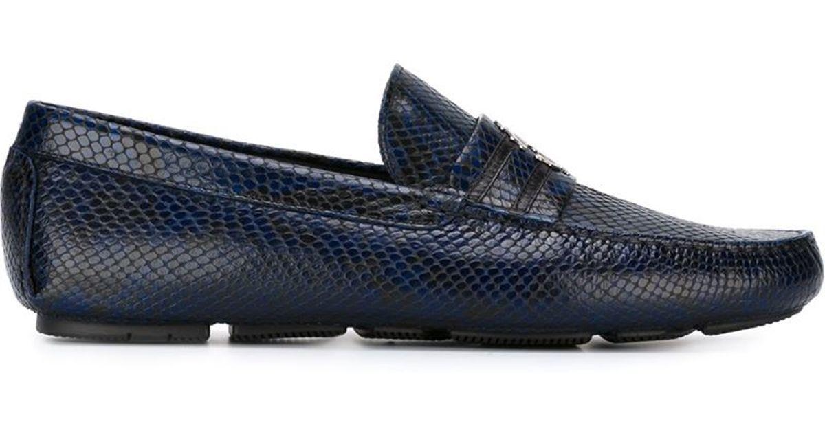 e3e73497477 Lyst - Roberto Cavalli Snakeskin Loafers in Blue for Men