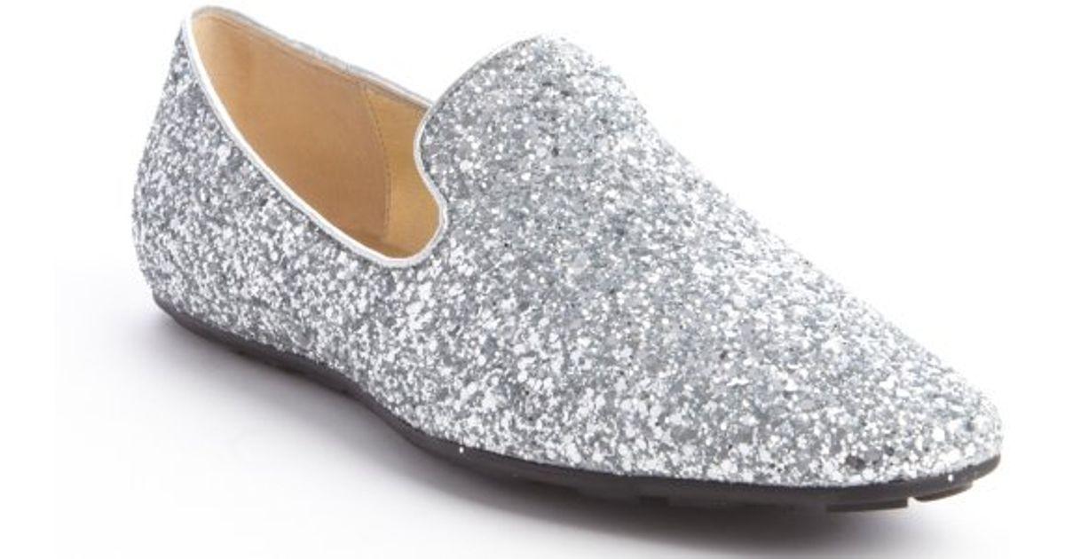 Jaida Glittered Leather Loafers - Silver Jimmy Choo London 6aeLVX2