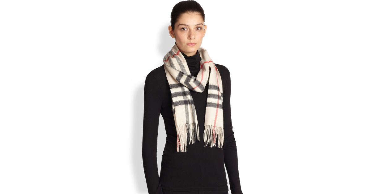 a92aa12e60ac7 ... clearance lyst burberry giant check cashmere scarf in natural 6cc41  7a3a7