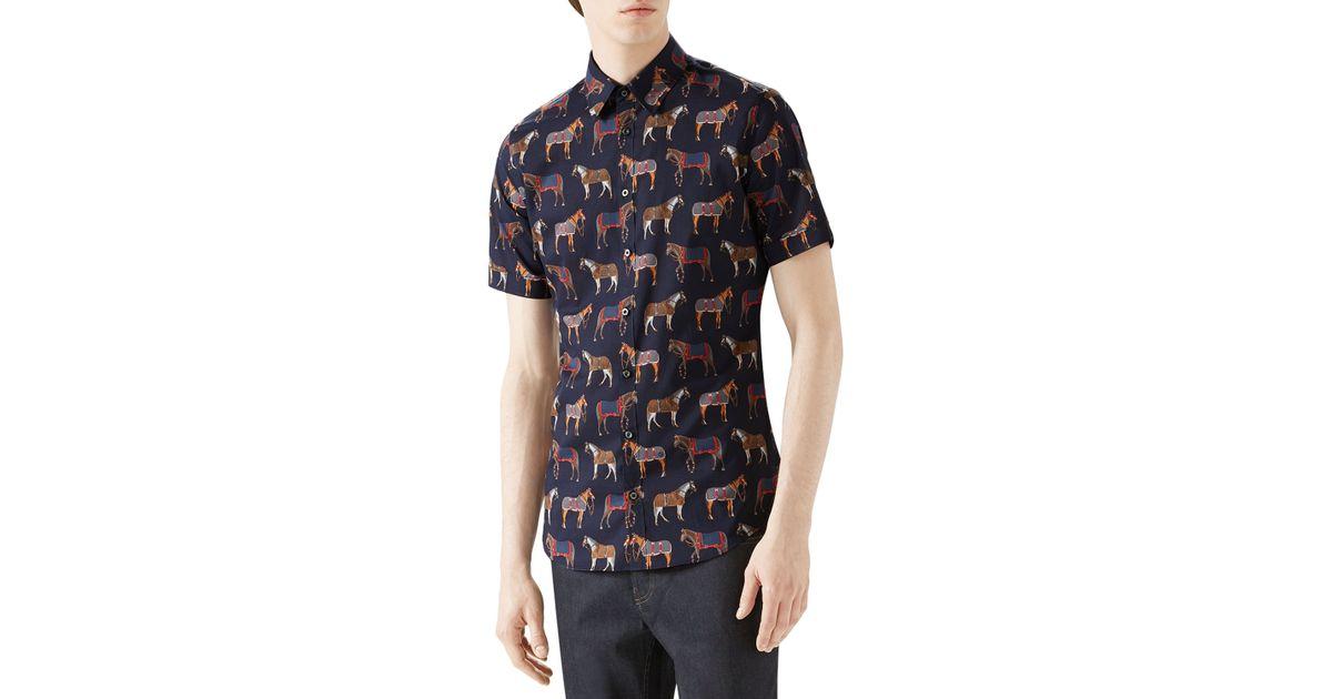 e6dbcd861e7d Gucci Horse Print Cotton Muslin Sportshirt in Blue for Men - Lyst