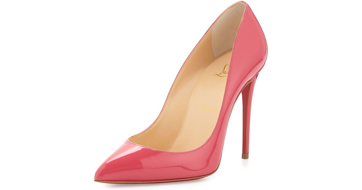 0ea58e6067ff Lyst - Christian Louboutin Pigalle Follies Patent Red Sole Pump in Pink