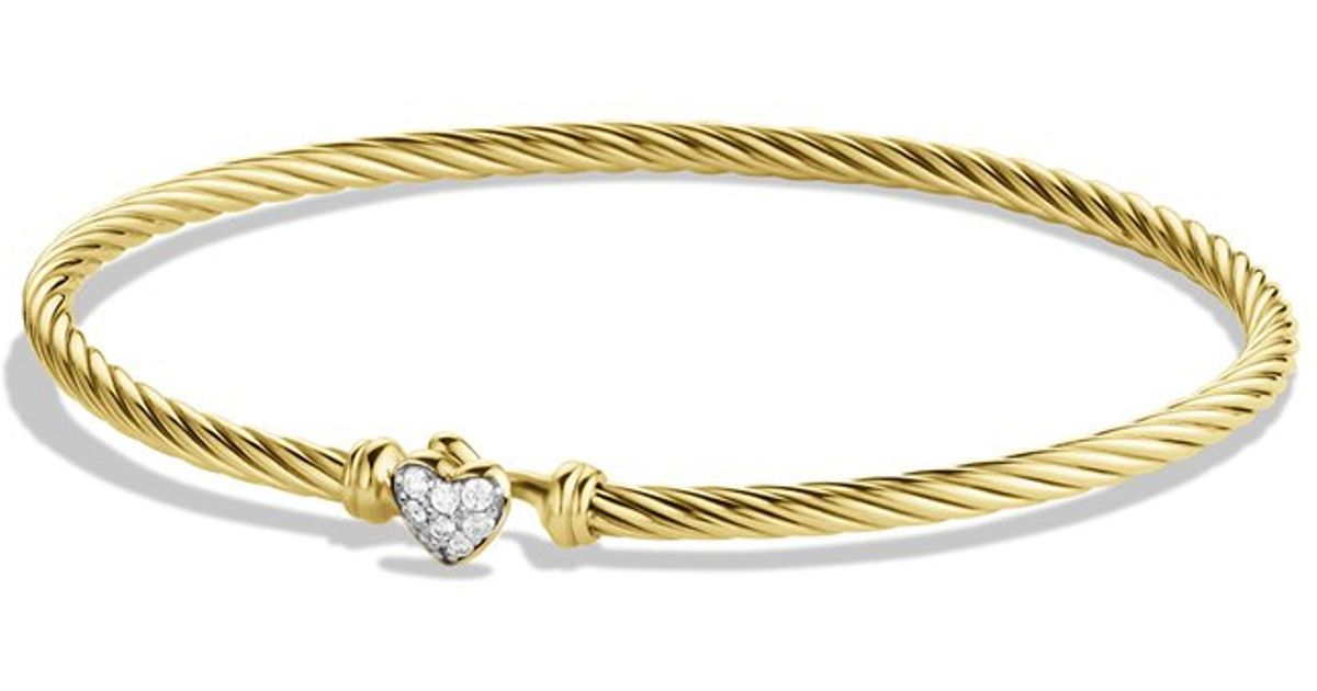 Lyst David Yurman Cable Collectibles Heart Bracelet With Diamonds