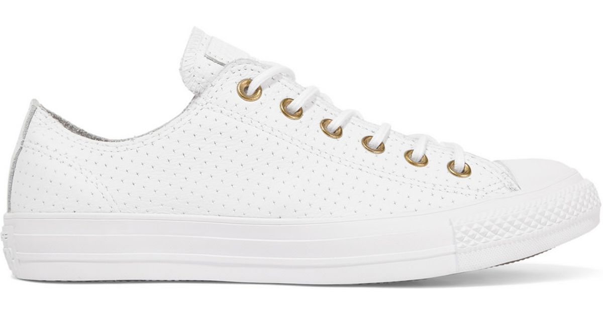 6db5fdbc41b5 Converse Chuck Taylor All Star Perforated Leather Sneakers in White - Lyst