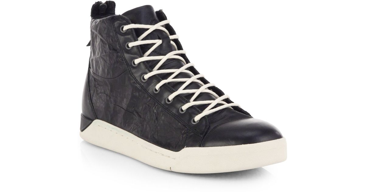 sports shoes d8437 18c3b Lyst - DIESEL Tempus Diamond Cracked Leather High-Top Sneakers in Black for  Men