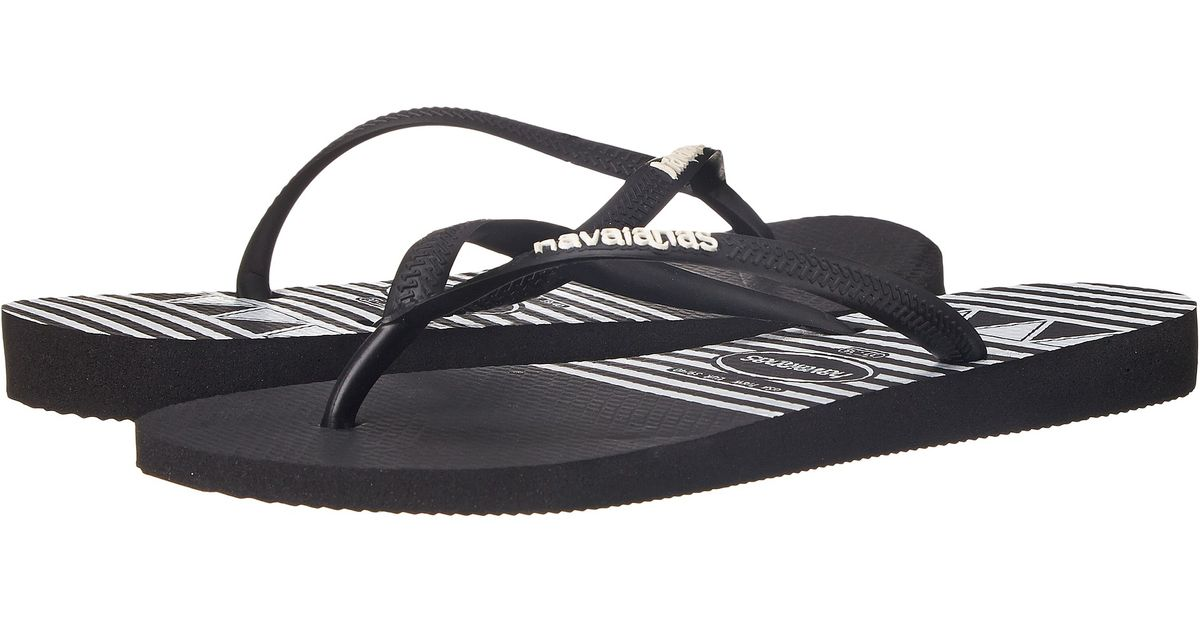 78b21a58cb368e Lyst - Havaianas Slim Logo Stripes Flip Flops in Black